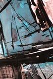 Pintura acrílica tirada mão Fundo da arte abstrata Pintura acrílica na lona Textura da cor Fragmento da arte finala brushstrokes ilustração stock