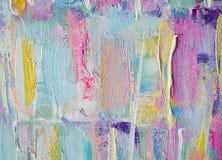 Pintura acrílica tirada mão Fundo da arte abstrata Pintura acrílica na lona Textura da cor Fragmento da arte finala brushstrokes Fotografia de Stock