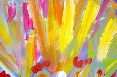 Pintura acrílica tirada mão Fundo da arte abstrata Pintura acrílica na lona Textura da cor Fragmento da arte finala brushstrokes Imagem de Stock Royalty Free