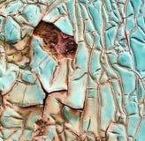Pintura agrietada azul en Rusty Metal Surface Texture imagen de archivo