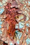 Pintura agrietada en Rusty Metal Surface Texture fotos de archivo libres de regalías