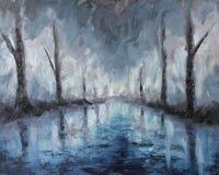 Pintura al óleo abstracta del paisaje de la noche, reflexión de árboles en agua Foto de archivo