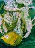 Pintura al óleo abstracta, impresionista de un limón con el jarro de cristal Imagenes de archivo