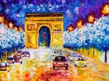 Pintura al óleo - Arco del Triunfo, París Fotografía de archivo libre de regalías