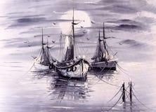 Pintura al óleo - barco libre illustration