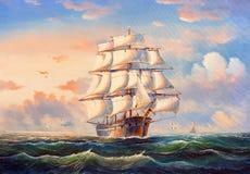 Pintura al óleo - barco de navegación stock de ilustración