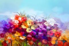 Pintura al óleo blanca, margarita amarilla, roja, flor del gerbera en campo Imagen de archivo libre de regalías