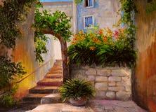 Pintura al óleo, calle por completo de las flores, acuarela colorida Foto de archivo libre de regalías