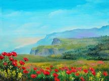 Pintura al óleo - campo de la amapola en las montañas Foto de archivo libre de regalías