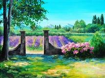 Pintura al óleo - campo del verano, bosque colorido Foto de archivo libre de regalías