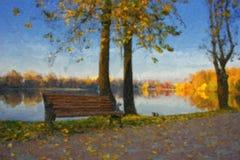 Pintura al óleo con el lago del otoño fotos de archivo