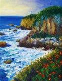 Pintura al óleo - costa Fotografía de archivo libre de regalías