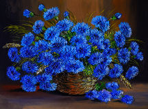 Pintura al óleo de flores azules en un florero, trabajo de arte Imagen de archivo