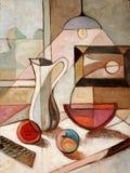 Pintura al óleo de la vida inmóvil con la jarra Fotografía de archivo