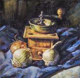 Pintura al óleo de una amoladora incluyendo el ajo y las cebollas Fotos de archivo