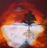 Pintura al óleo del árbol contra el cielo de la puesta del sol Fotos de archivo libres de regalías