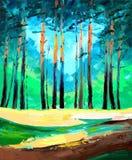 Pintura al óleo del bosque del pino stock de ilustración