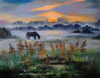 Pintura al óleo del campo en la puesta del sol, trabajo de arte Foto de archivo libre de regalías