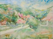 Pintura al óleo del impresionismo del pueblo de montaña imagenes de archivo