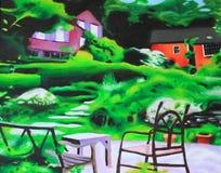 Pintura al óleo del paisaje fotografía de archivo libre de regalías