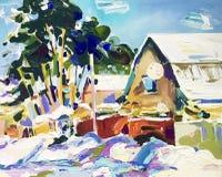 Pintura al óleo del paisaje rural del invierno hermoso ilustración del vector