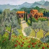 Pintura al óleo del paisaje toscano - dios está en detalles ilustración del vector