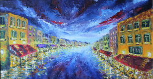 Pintura al óleo del paisaje urbano de la noche