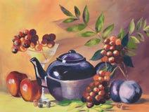 Pintura al óleo del pote y de la fruta en lona imagenes de archivo