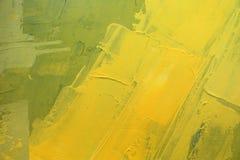 Pintura al óleo dibujada mano Fondo amarillo abstracto del arte Pintura al óleo en lona Textura del color Fragmento de las ilustr imagenes de archivo