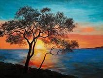 Pintura al óleo en la lona - árbol cerca del lago en la puesta del sol Imagen de archivo