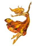 Pintura al óleo en la lona, bailarina del fuego ilustración del vector