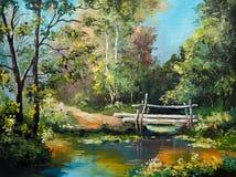Pintura al óleo en la lona - puente en el bosque Imagen de archivo