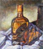 Pintura al óleo en lona de una botella de cristal Fotos de archivo libres de regalías