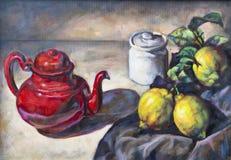 Pintura al óleo en lona de una composición de la fruta Imagen de archivo