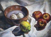 Pintura al óleo en lona de una composición de la fruta Imagenes de archivo