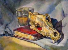 Pintura al óleo en lona de una taza de cristal, de un libro y de un cráneo Fotos de archivo libres de regalías