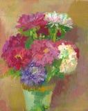 Pintura al óleo - flores Imagen de archivo