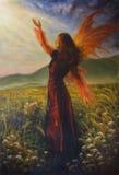 Pintura al óleo hermosa de una mujer de hadas que se coloca en un prado Foto de archivo