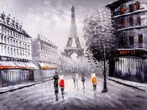 Pintura al óleo - opinión de la calle de París ilustración del vector
