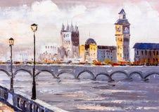 Pintura al óleo - opinión de la calle de Londres Foto de archivo