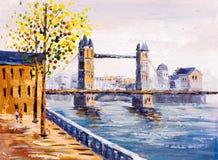 Pintura al óleo - opinión de la calle de Londres Fotos de archivo libres de regalías