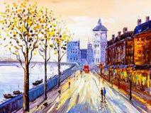 Pintura al óleo - opinión de la calle de Londres Foto de archivo libre de regalías