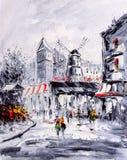 Pintura al óleo - opinión de la calle de París libre illustration
