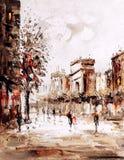 Pintura al óleo - opinión de la calle de París Imagen de archivo