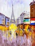 Pintura al óleo - opinión de la calle de París Fotografía de archivo