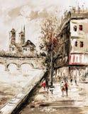 Pintura al óleo - opinión de la calle de París Foto de archivo libre de regalías