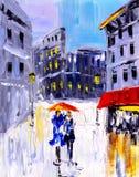 Pintura al óleo - opinión de la ciudad de Italia Fotos de archivo