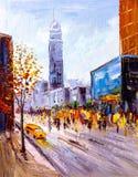 Pintura al óleo - opinión de la ciudad de Nueva York Imagen de archivo