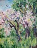 Pintura al óleo original colorida que muestra un bosque del camino - Rusia Berezniki el 23 de marzo de 2018 fotografía de archivo