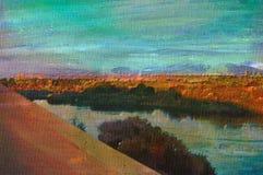 Pintura al óleo original de aswan Imagen de archivo libre de regalías